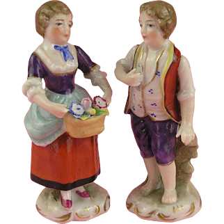 Vienna: Antique Miniature Pair of 19th century Porcelain Figures!