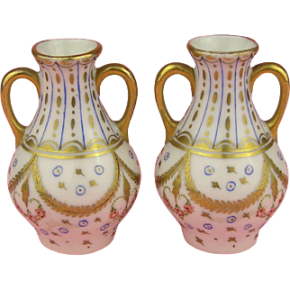 Lovley Pair of 19th Century Handpainted Miniature Vases