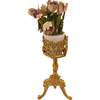 Antique Miniature Dolls' House Flower Stand ca. 1910