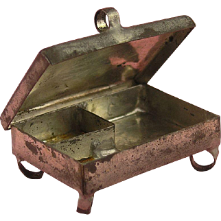 Early RARITY: Miniature Tinplate Spice Box  - ca. 1830/50 - Rarest Kitchen Accessory
