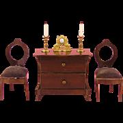 Erhard & Söhne: Miniature Ormolu Clock with a Pair of Candleholders