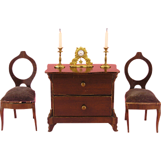 Erhard & Söhne: Miniature Ormolu Clock with a Pair of Candleholders