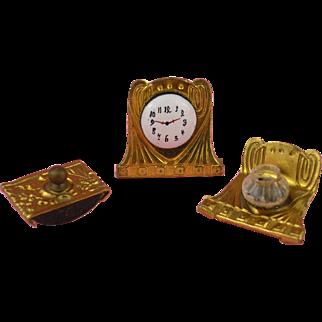 Erhard &  Söhne: Rare Ormolu Miniature Desk-Set for the Dolls' house