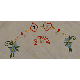 "Bridge Linen Napkin with ""No Trump"" saying"