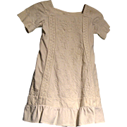 Lovely white pique dress with soutache for large doll or child