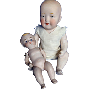 Delightful Pair of All Bisque Babies. Kestner, Limbach