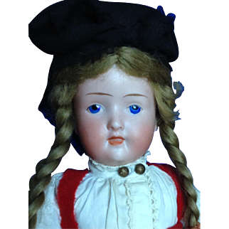 """12"""" Bisque Character Closed Mouth. Painted Eyes. Fully jointed compo body- SO Unusual!"""