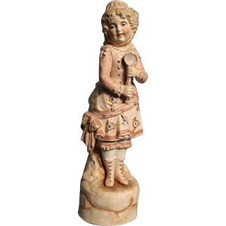 """11-3/4"""" Bisque Statue of Girl with Gold & Luster Decoration"""