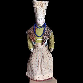 "14"" French Paper Mache - Leather body, original costume"