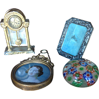 Antique Mantel Clock,  Two Frames,  Millefiori Paperweight