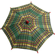 Wonderful plaid doll umbrella from 1930s---great condition!