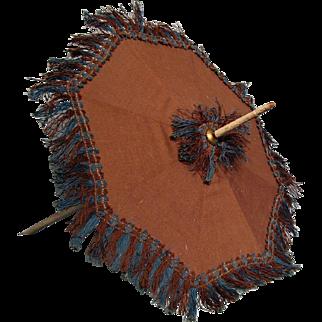 Brown Child or Doll Umbrella---early 1900s--Original fringe!