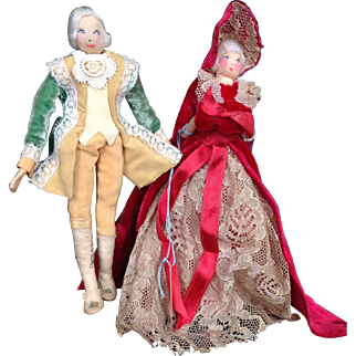 "6"" RAVCA George and Martha Washington. Signed, tagged! Doll House size- SO RARE"