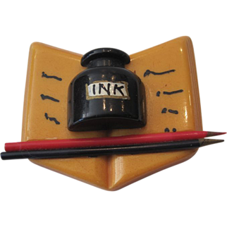 Bakelite Open Writer's Book Pin