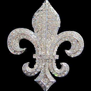 Fleur de Lis Bourbon French Rhinestone Pin