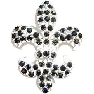 Lisner Fleur de Lis Bourbon French White & Black Rhinestone Pin