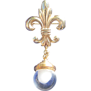 Glass Fob and Fleur de Lis Bourbon French Charm Pin