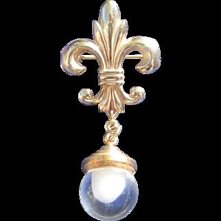Glass Fob and Fleur de Lis Bourbon French Charm Pin