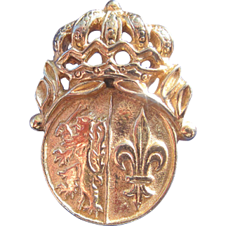 Crest with Crown Fleur de Lis and Lion with Mace Pin