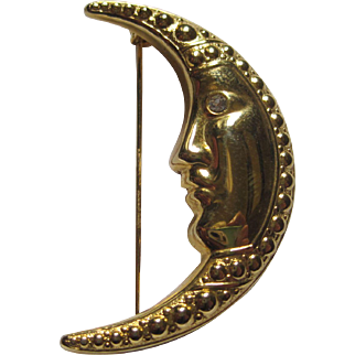 Gold-tone Crescent Man in the Moon Pin