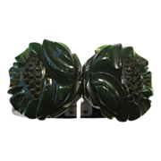 Green Bakelite Floral Bracelet