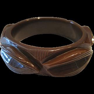 Heavy Carved Brown Bakelite Bracelet
