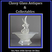 Very Rare 1930s German Art Deco Crystal Glass 4 Part Centrepiece Display Set Seagulls & Fish Pattern by Walther & Sohne