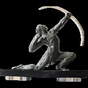 Terrific Original 1920s French Art Deco Male Archer Sculpture by E.J.N. Carlier