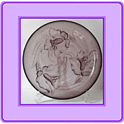 Breathtakingly beautiful 14 inch mauve glass bowl by Verlys France circa 1930s Art Deco