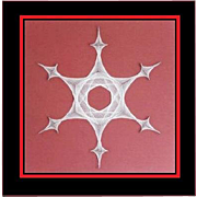 Large original 1970s French abstract string art of a Snowflake