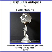 COMPLETE Bohemian Art Deco Kneeling Lady glass lamp by Riedel c1930s