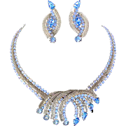 Hobe Blue Rhinestone and Blue Moonstone Signed Necklace, Brooch, and Matching Earrings