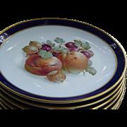"Schumann Arzberg Bavaria Echt Cobalt Bountiful Dessert Plates 7 1/2"" - Red Tag Sale Item"