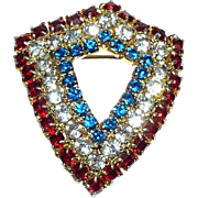 Red White & Blue Shield Pin Brooch