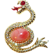 1960s Aurora Borealis Jelly Belly Sea Monster Snake Brooch 00385