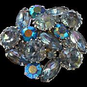 Blue Rhinestone Brooch