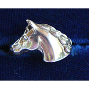 Sterling Silver Horse Head Ring by Kabana