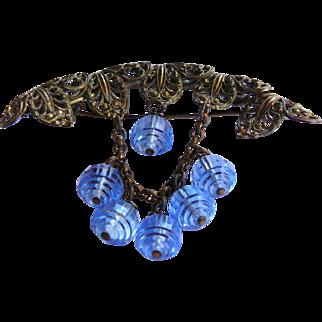 Victorian Brass Filigree Brooch, Blue Crystal Brooch