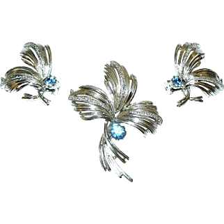 Emmons Flower Brooch and Matching Earrings