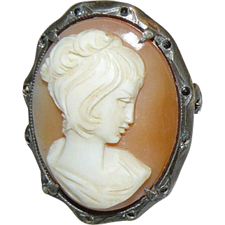Carved Shell Cameo with Marcasites set in 800 Silver