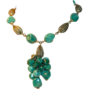 Green Swirled Lucite and Brass Necklace