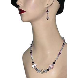Artisan Amethyst and Sterling Necklace With Earrings