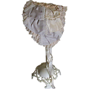 Vintage Silk and Lace Bonnet for French or German Doll