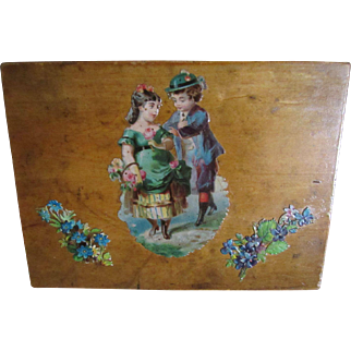 Sweet Antique Wooden Presentation Box For Dolly's Treasures