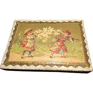 Adorable French Candy Box With Children Lithograph