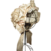 Beautiful Fancy Pale Pink Taffeta Bonnet for French or German Doll