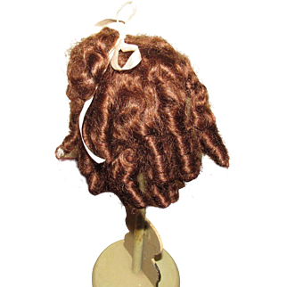 Rich Brown Mohair Wig with Ringlets, Size 7/8