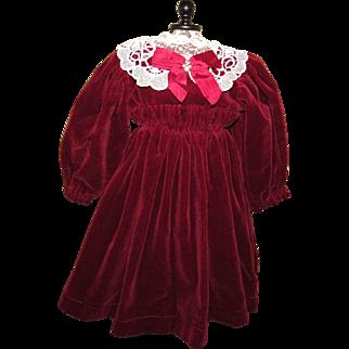 """Lovely Burgundy Velvet Doll Dress 17"""" Length for French of German Doll"""