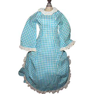 19 Century Hand Sewn French Fashion or China Head Doll Dress