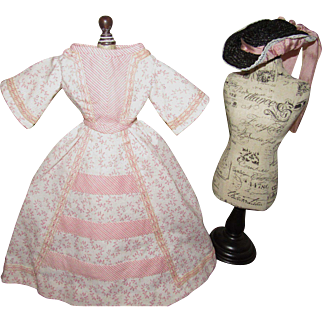 Fabulous French Fashion Doll Couture Dress with Matching Hat
